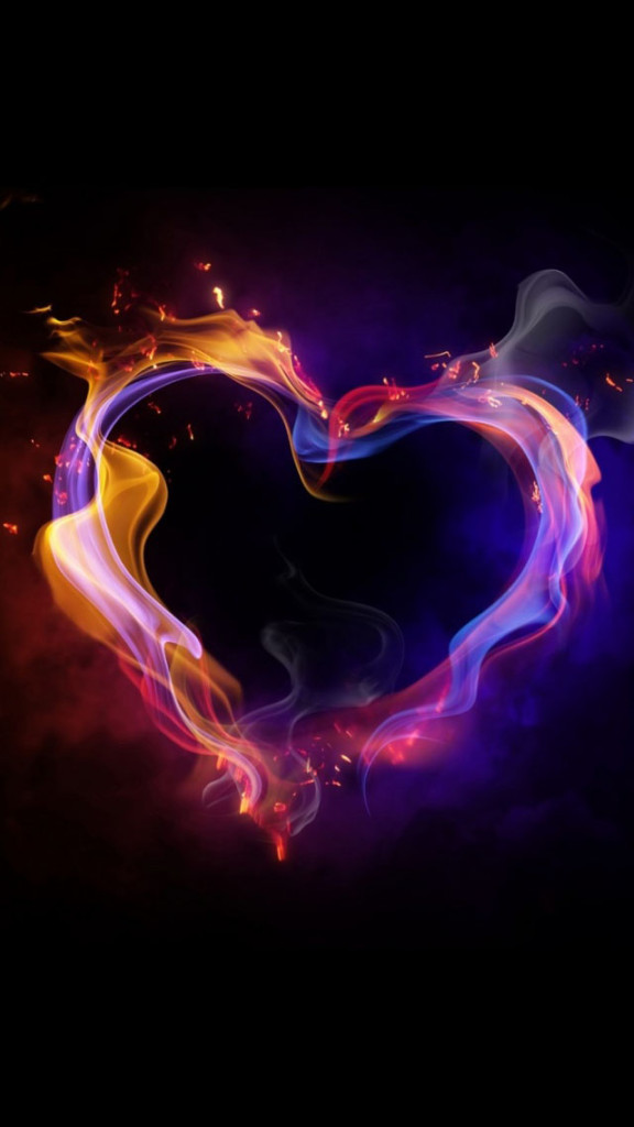Colorful Love Heart Of Smoke Wallpaper   iPhone Wallpapers 576x1024