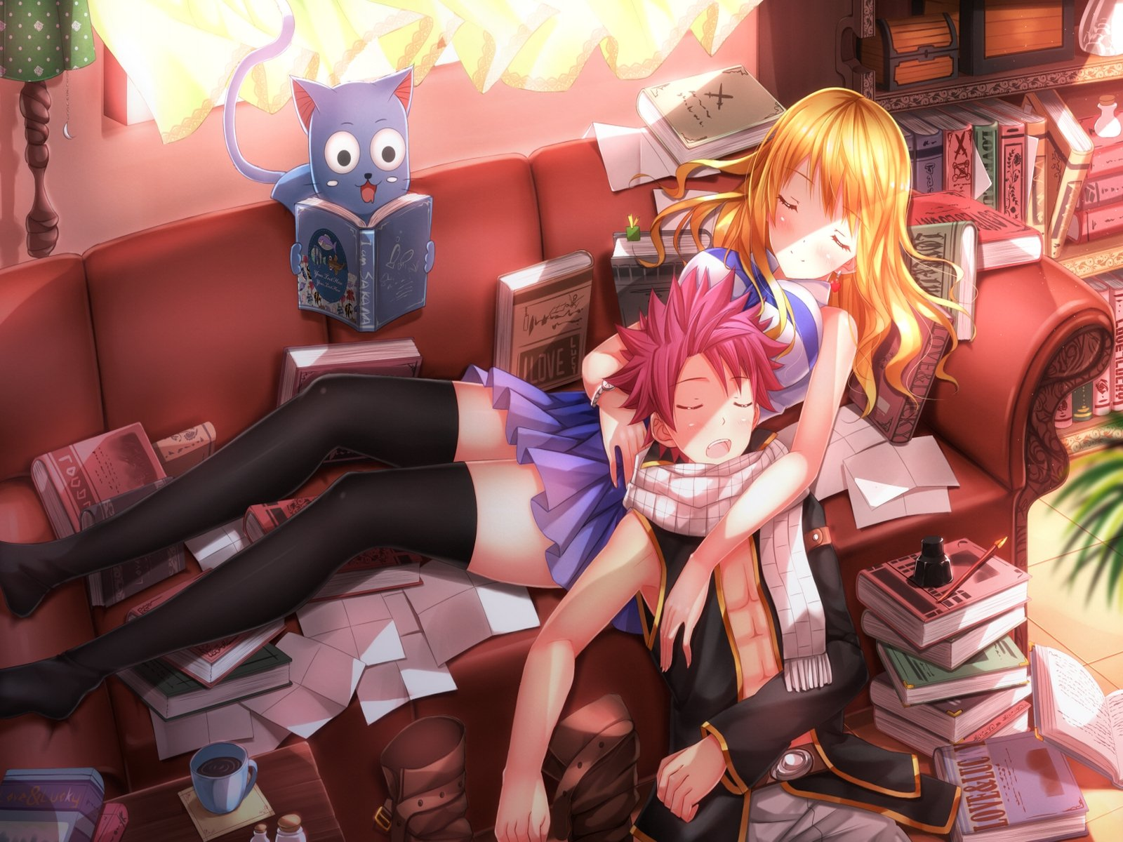 Fairy tail Natsu Lucy and Happy wallpaper 1600x1200 786610 1600x1200