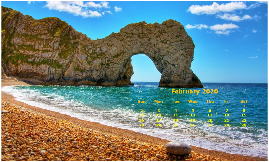 Monthly 2020 Desktop Calendar Wallpaper 940x565
