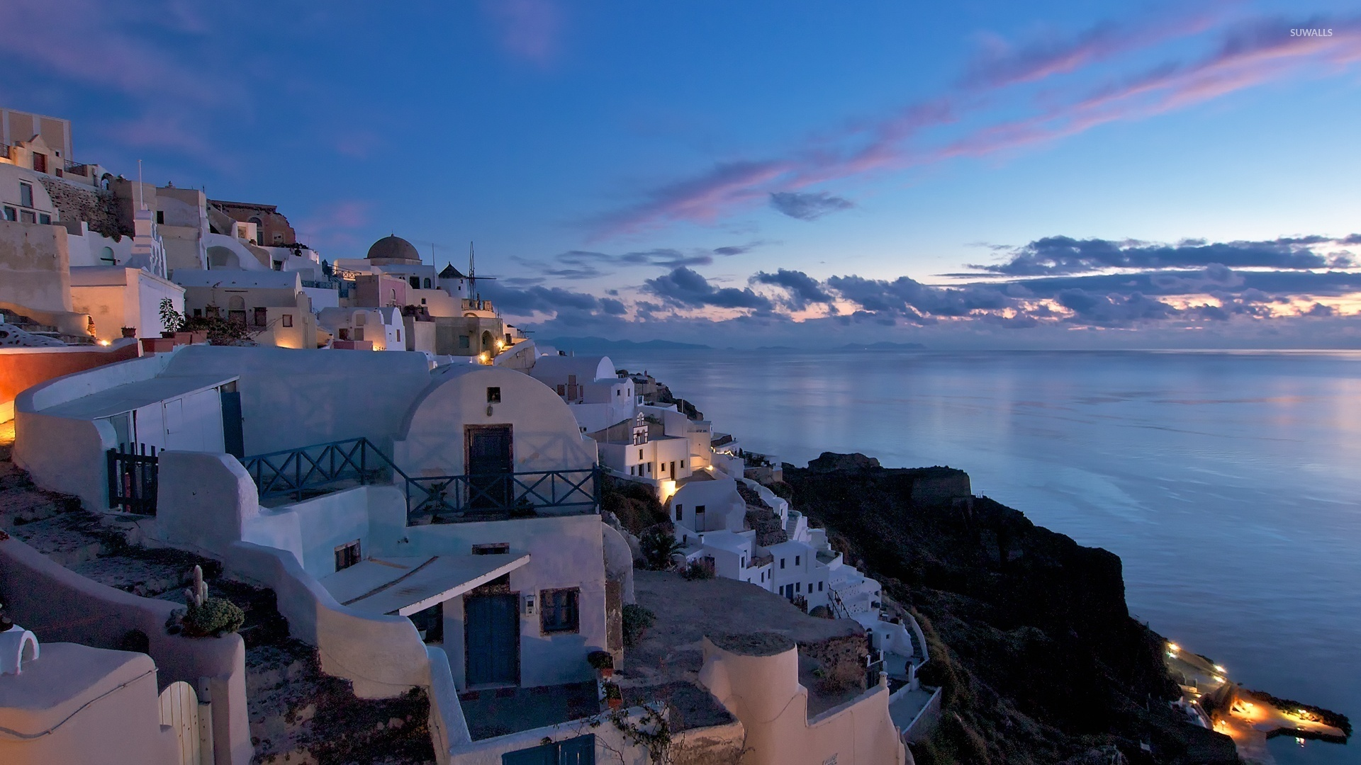 Beatiful Sunset Sky Above Santorini Wallpaper   Greece Santorini 1920x1080