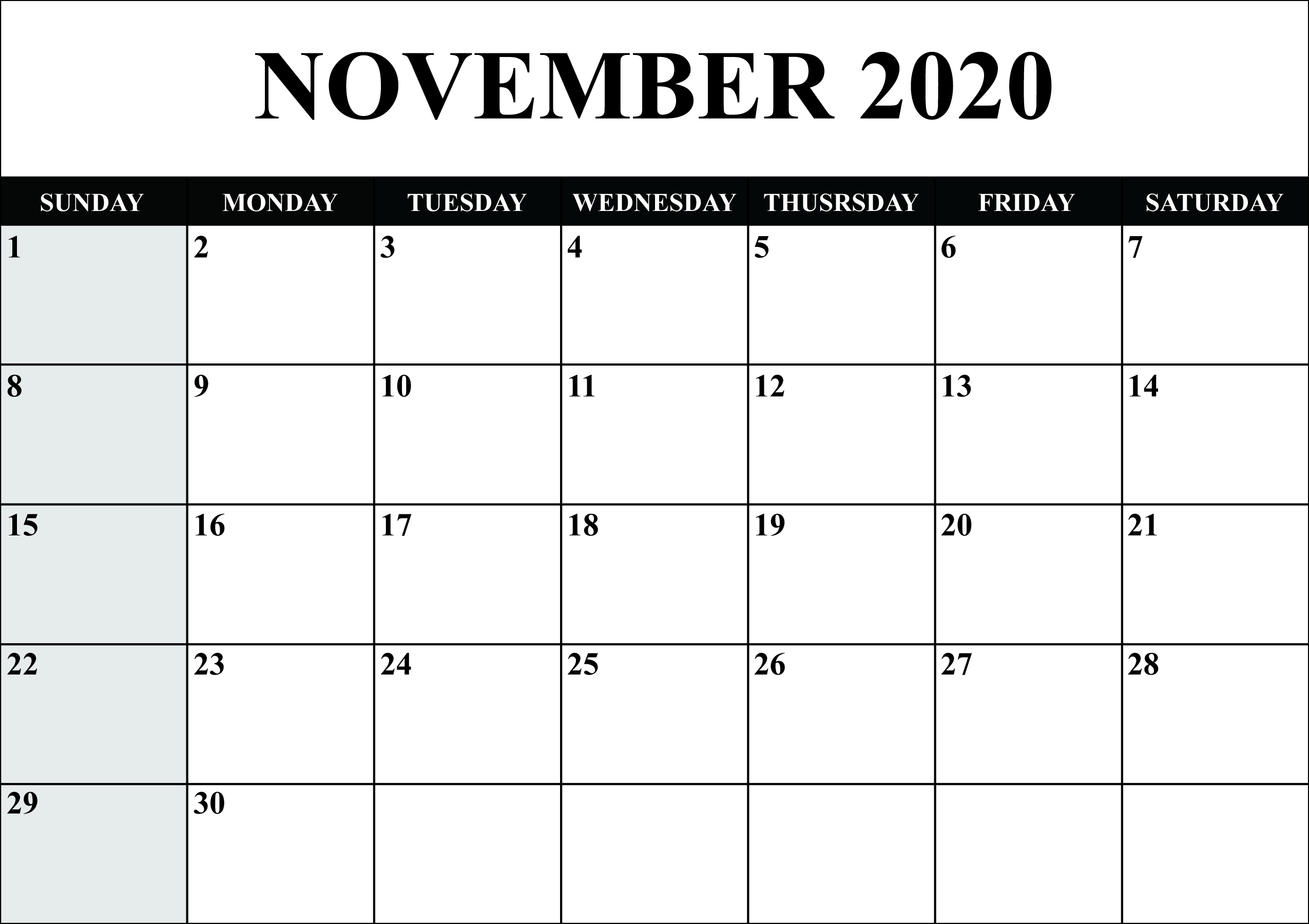 November 2020 Calendar PDF Word Excel Printable Template 2550x1800
