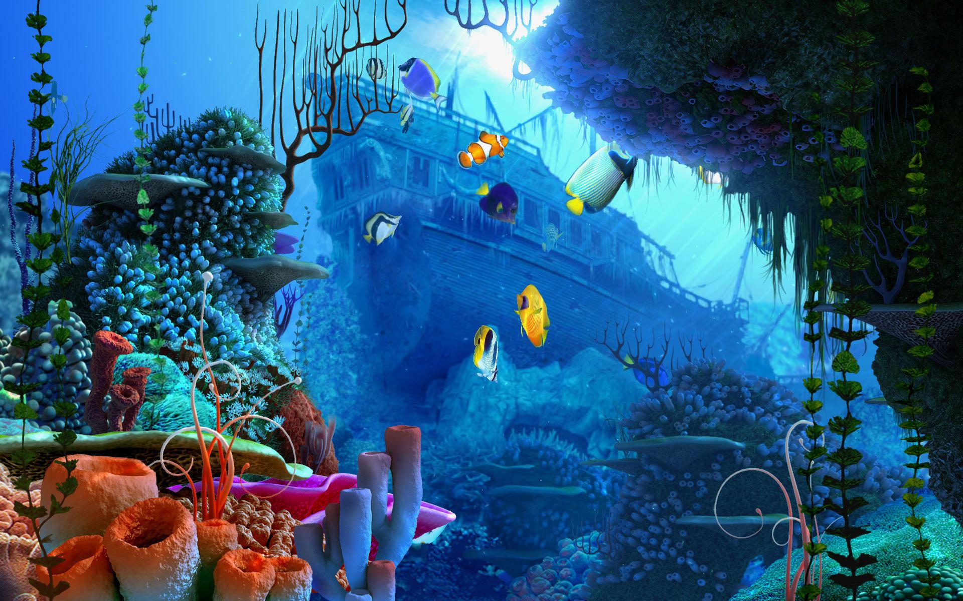 Download Fantasy Natural Pixel Blue Large Ocean Wallpaper Full HD 1920x1200