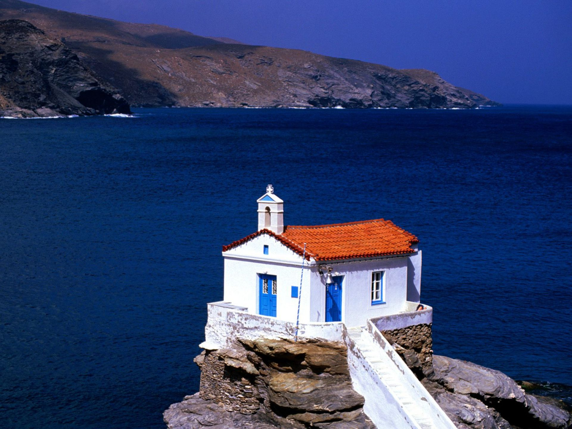 Chapel of Panagia Thalassini in Andros Greece widescreen 1920x1440