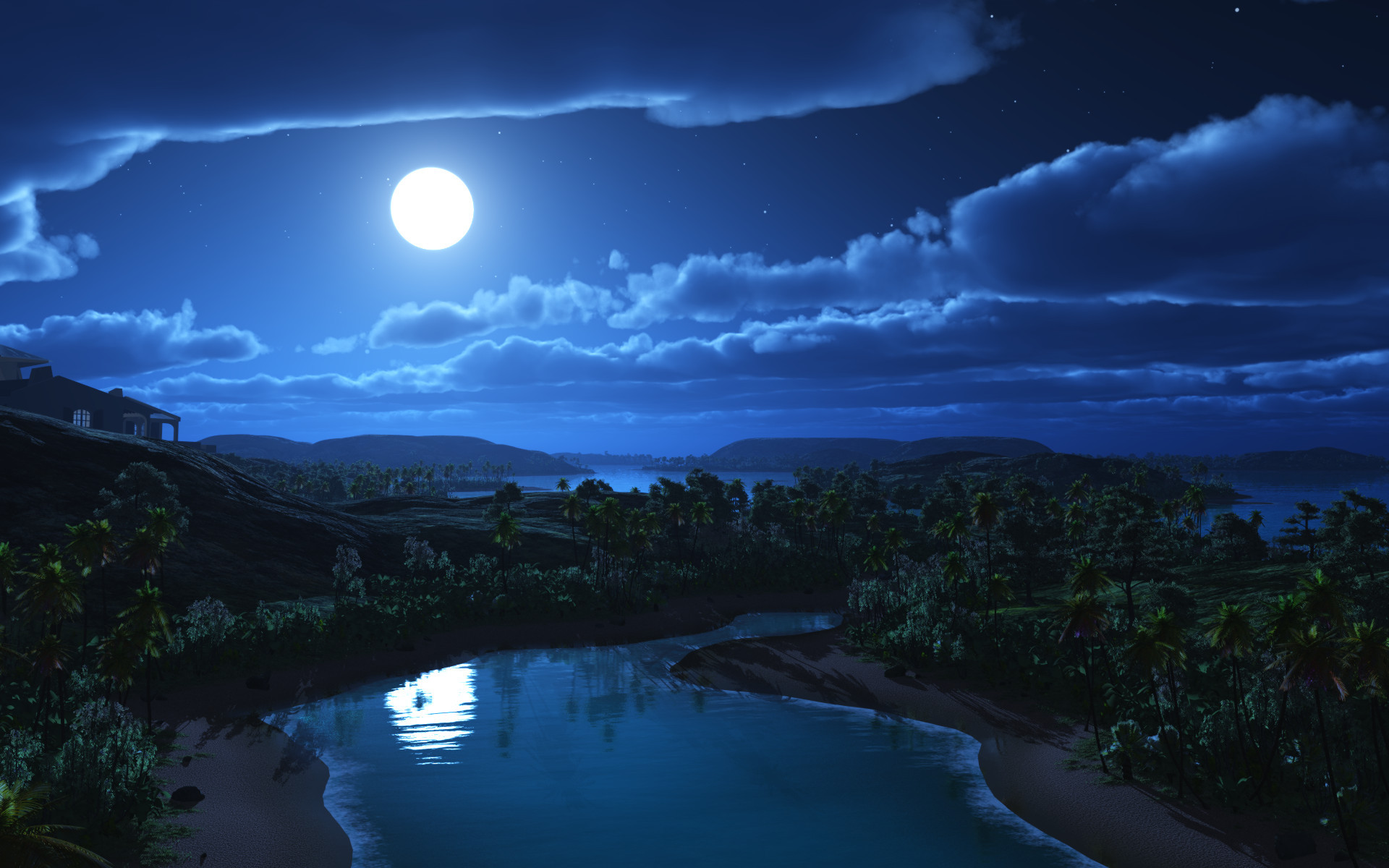 Art night moon landscape hills palm trees river house clouds 1920x1200