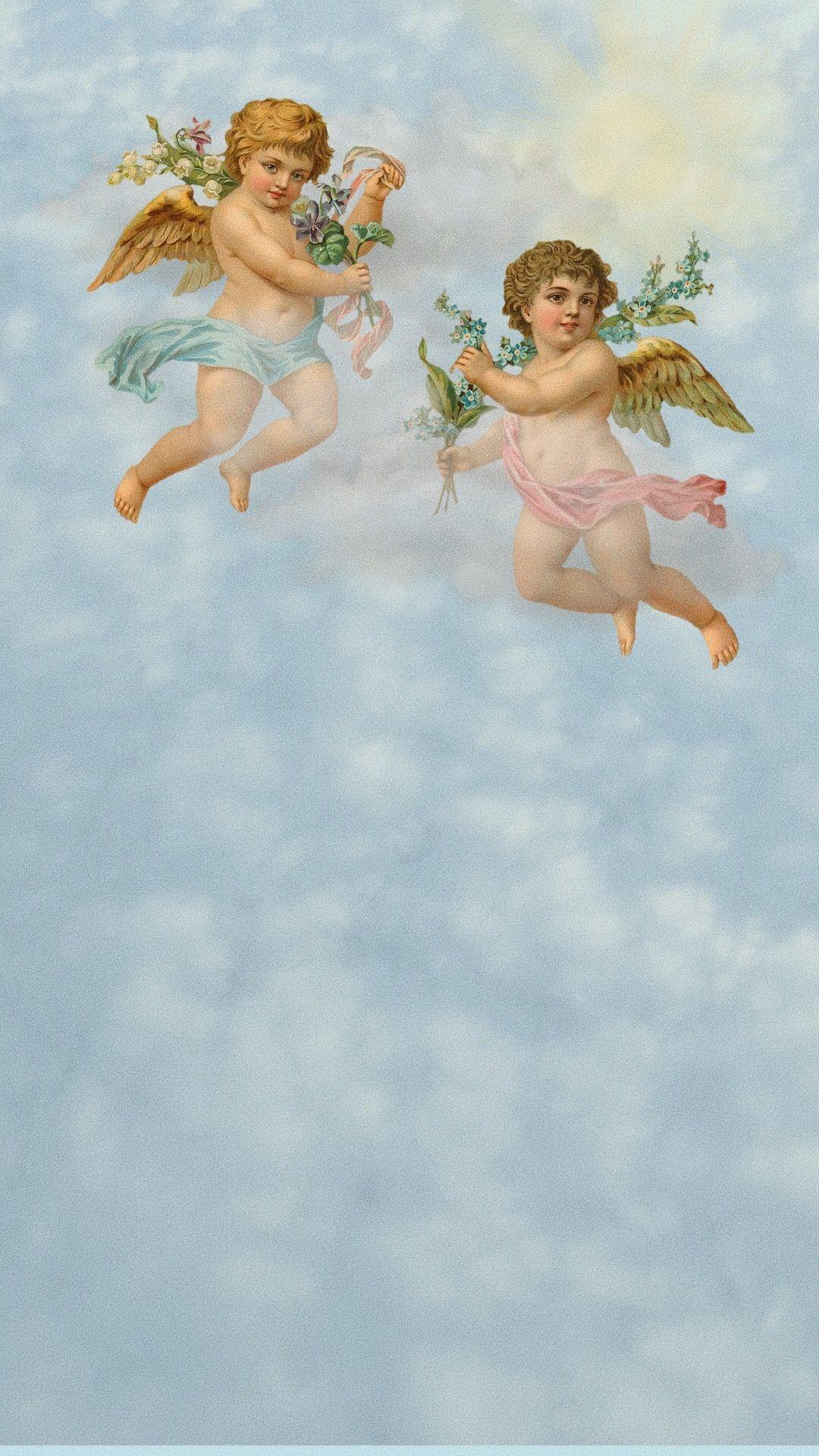 clouds cherubs wallpaper with Sunny VSCO filter Cherub art 1080x1920