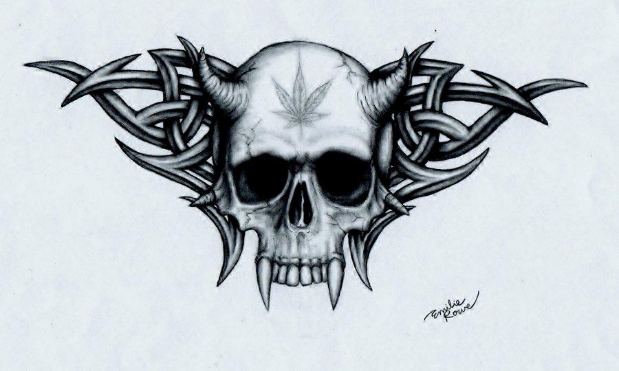 Weed And Skulls Wallpaper Marijuana skull by emilierowe 900x540