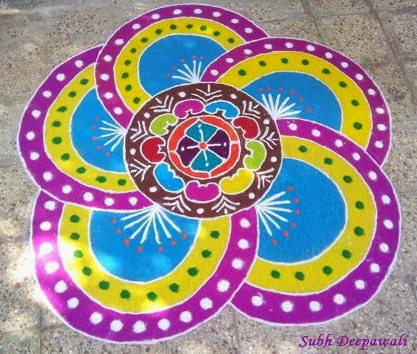 Top 10 Diwali 2015 Rangoli Designs Dots Color Unique Rangoli 601x510