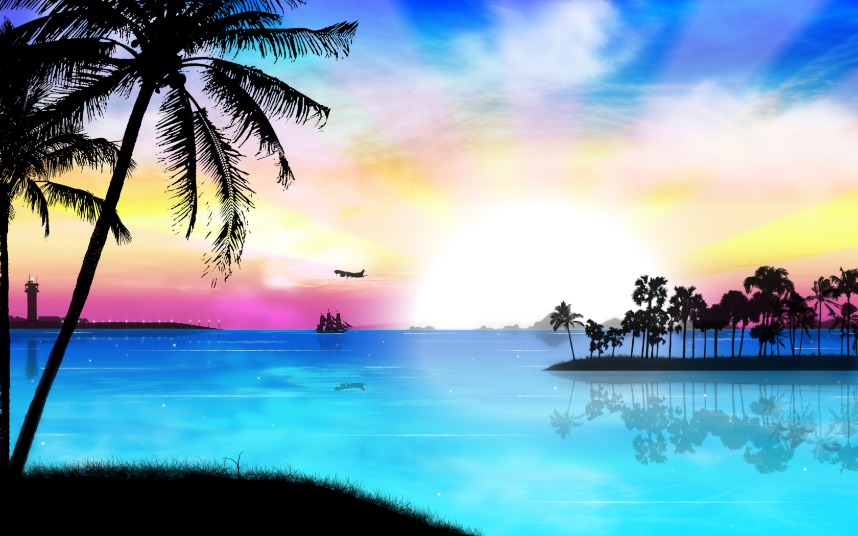 Hd Tropical Island Beach Paradise Wallpapers And Backgrounds: Tropical Sunset Wallpaper Desktop