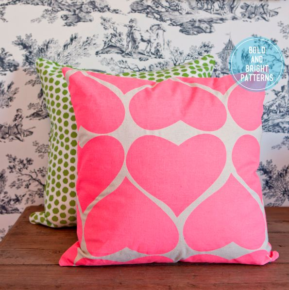 neon pink pillow Funny Pillows D Gum Pink Bright Pink Neon Green 595x598