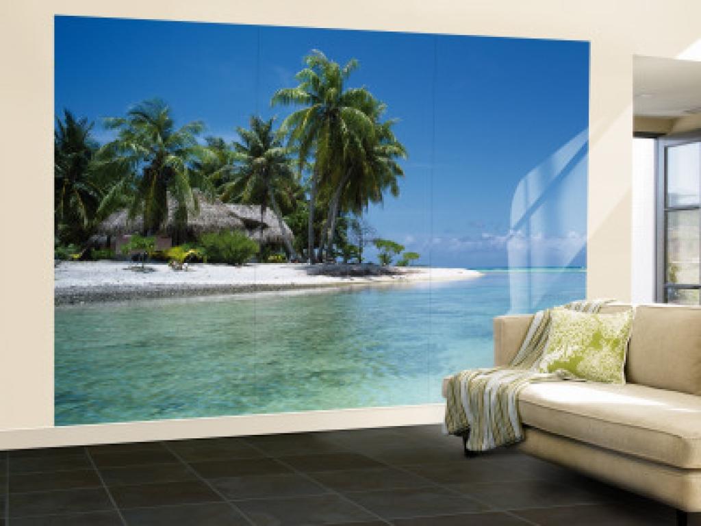 Living room wallpaper murals beach 1024x768