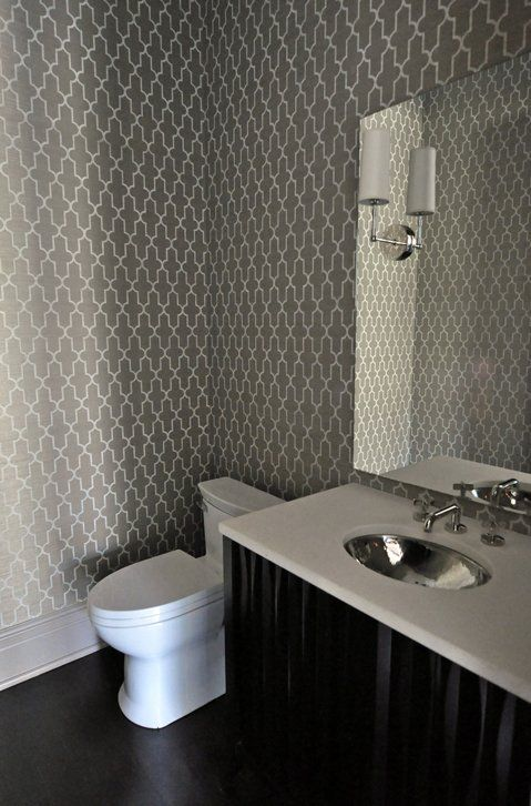 Grey moroccan wallpaper wallpapersafari for Grey bathroom wallpaper