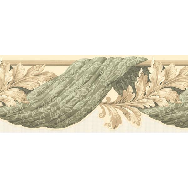 451 1604 Green Curtain Scroll   Brewster Wallpaper Borders 600x600