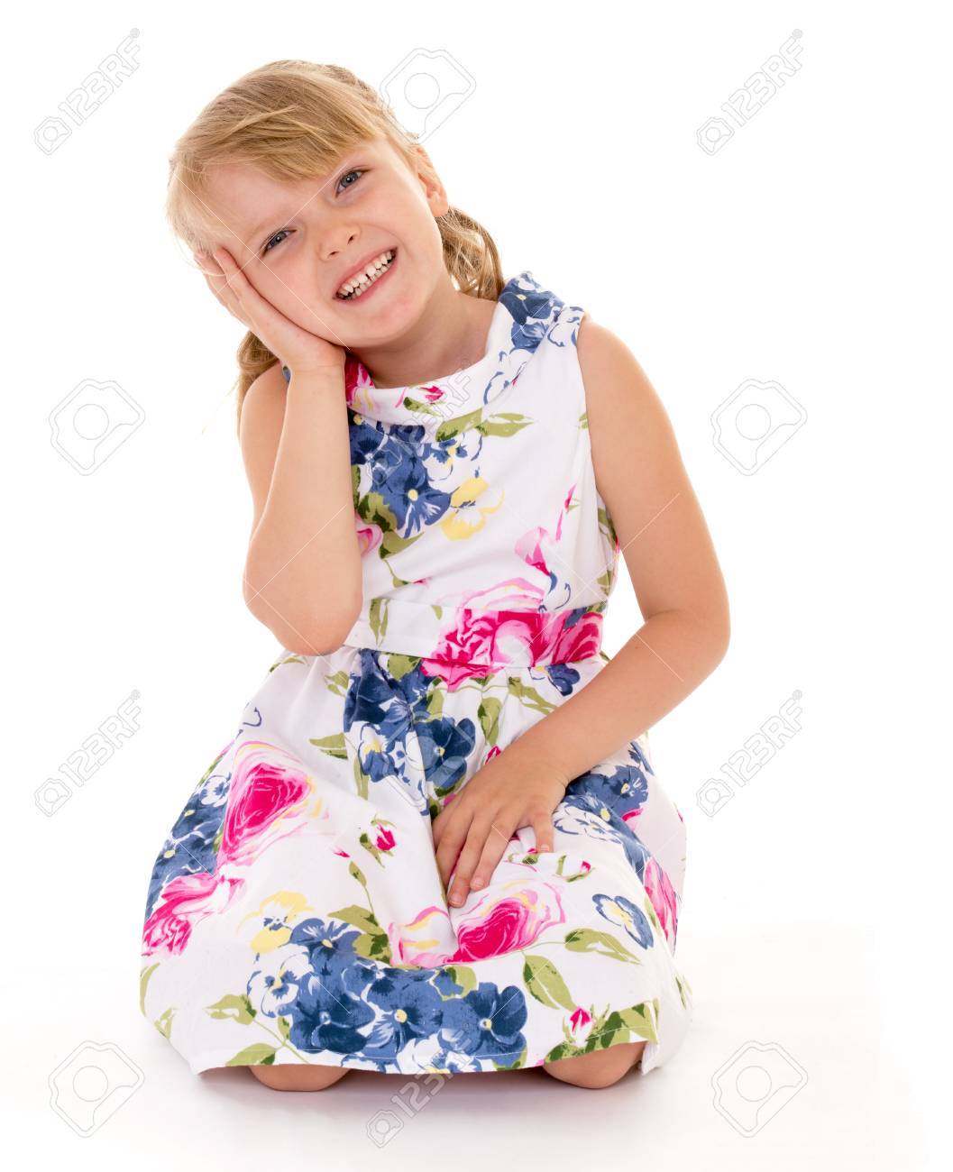 Soulful Young Girl Put Her Hand To His Ear Isolated On White 1057x1300