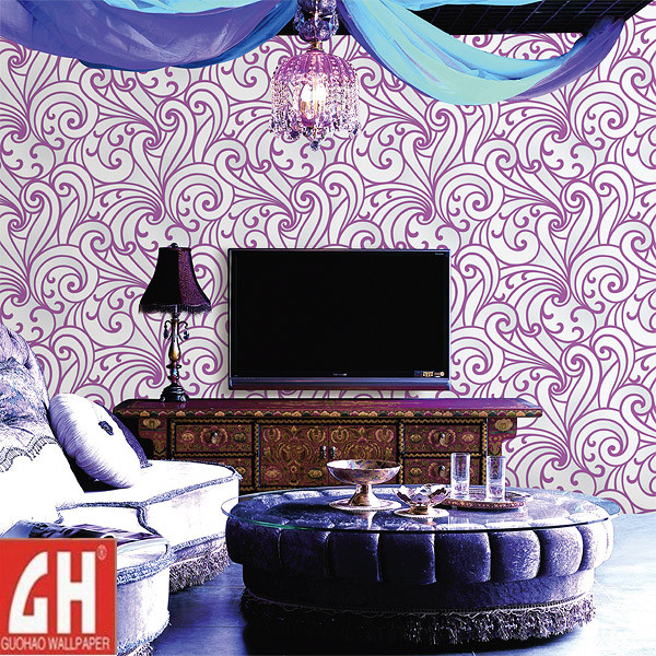 China Removable Purple and White Vinyl Wallpaper   China Wallpaper 600x600