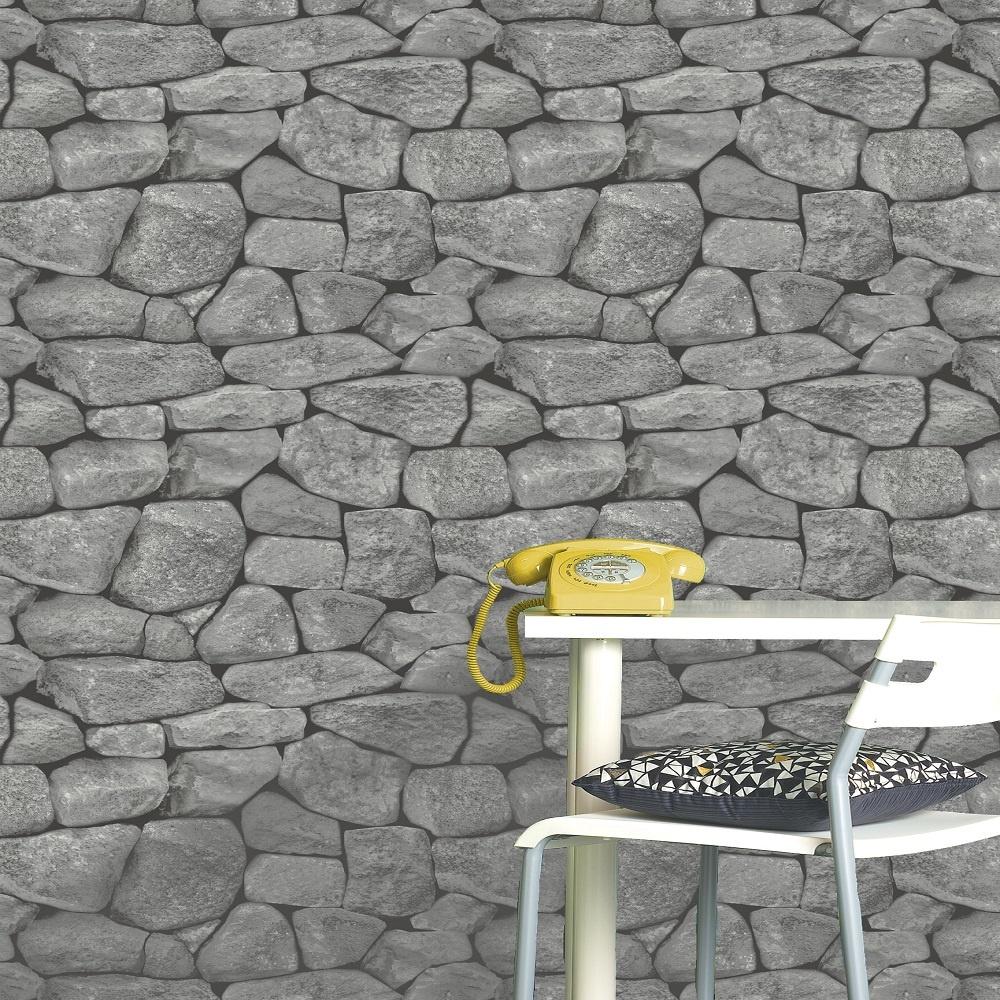 Holden Decor Holden Stones Dry Stone Wall Effect Wallpaper 11270 1000x1000