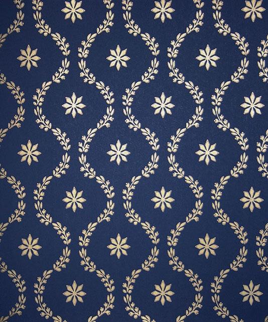 Navy blue and gold wallpaper wallpapersafari for Blue patterned wallpaper bedroom