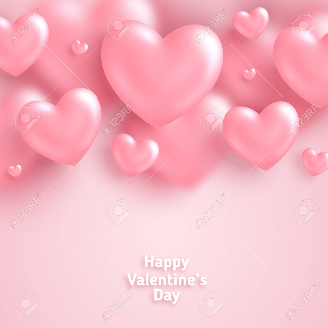 Pink Valentines Day Background 3d Hearts On Bright Backdrop