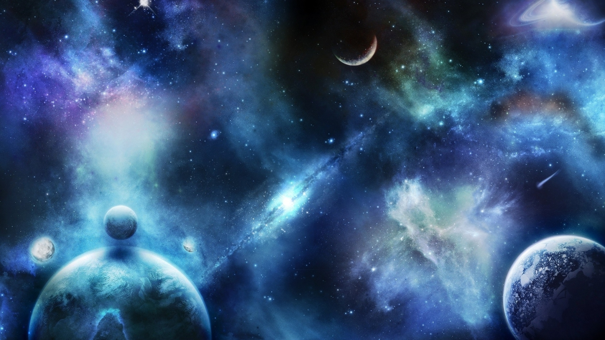 2048x1152 Wallpaper planets stars space universe spots blurring 2048x1152
