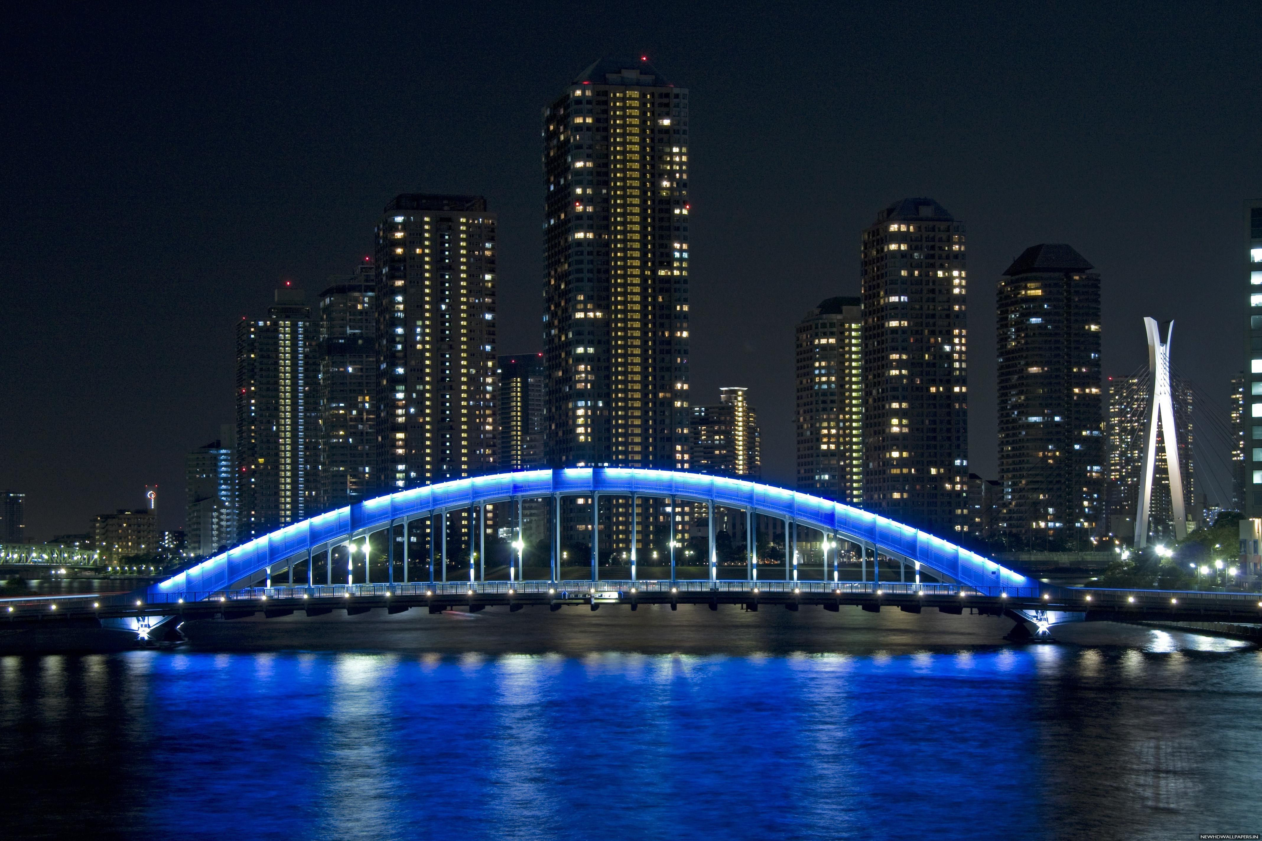 Bridge Eitai Tokyo Japan Night HD Wallpaper   New HD Wallpapers 4272x2848