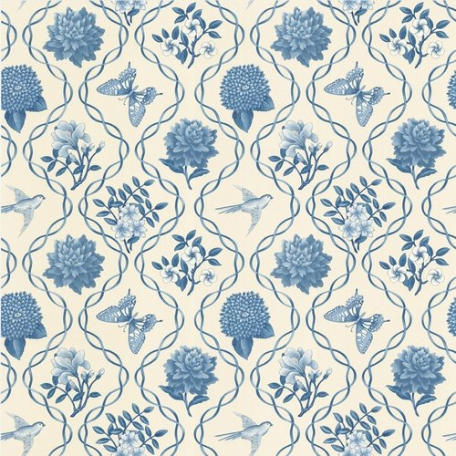Blue Garden Theme Trellis Wallpaper Stuff to fill my future house 500x500