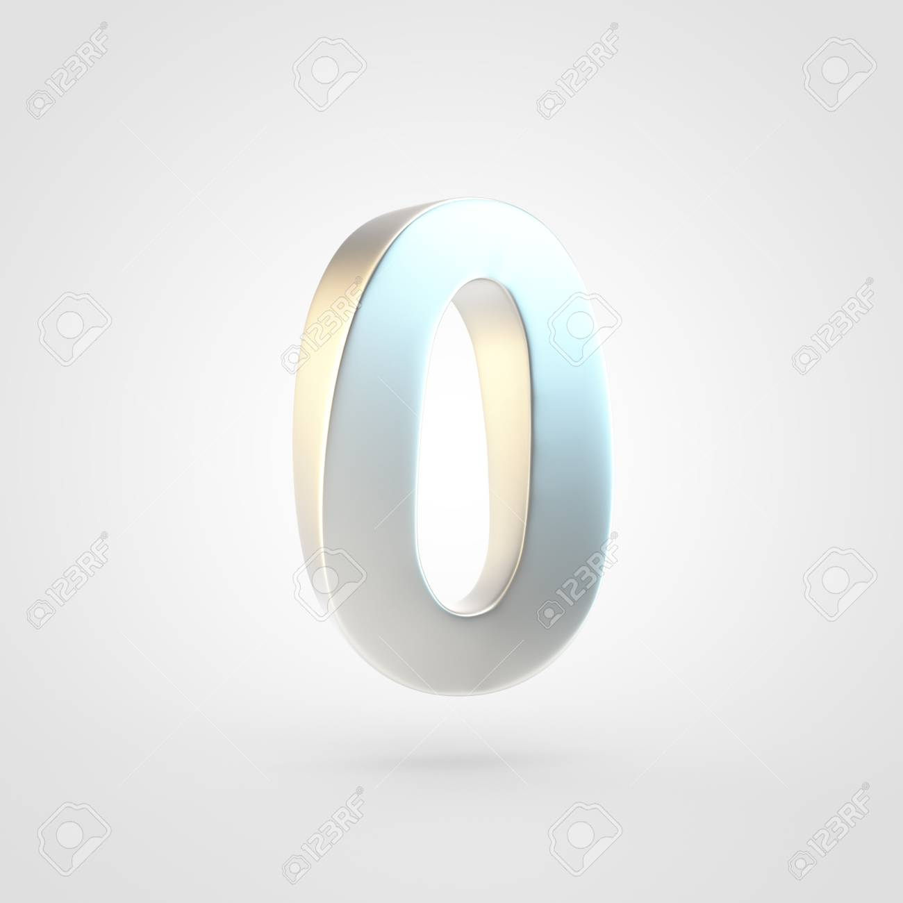 Silver Number 0 3D Rendering Of Matted Golden Font Isolated 1300x1300