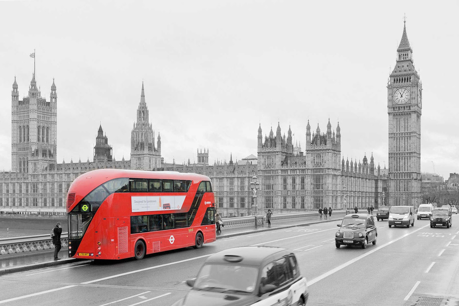 London bus black and white photography with color Black and White 1600x1067