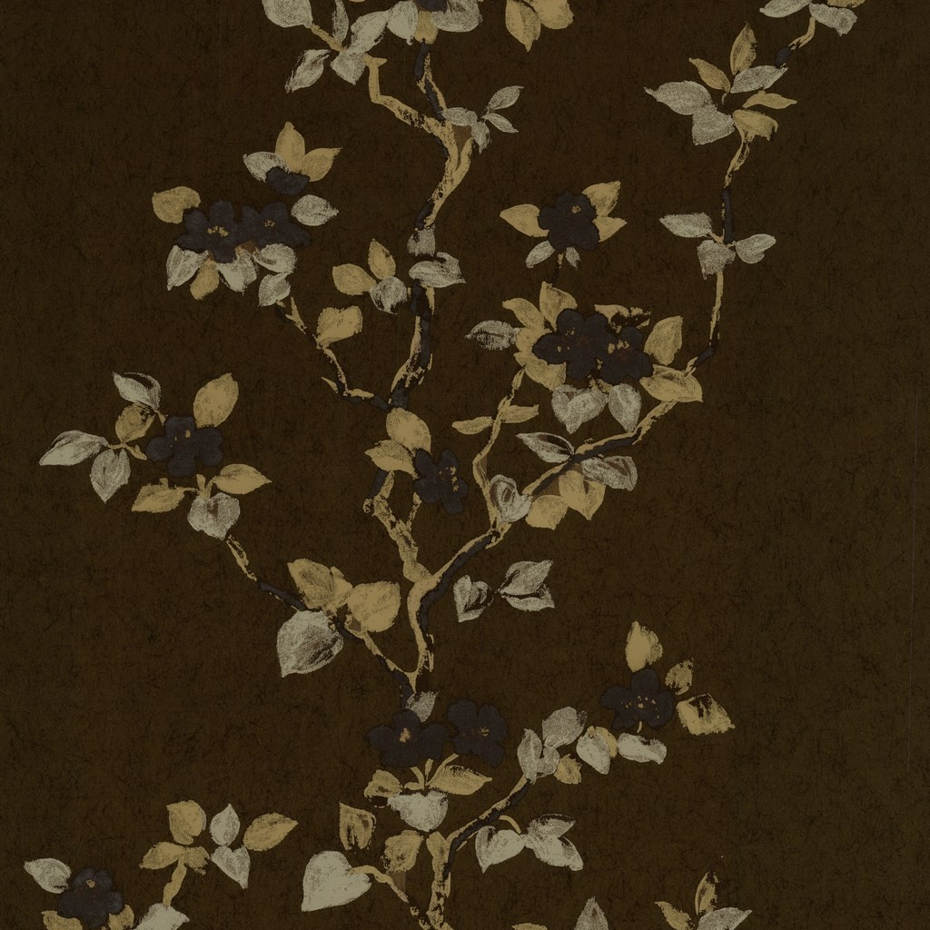 Orpheo Magnolia Blossom Brown Gold Wallpaper by PS 1024x1024