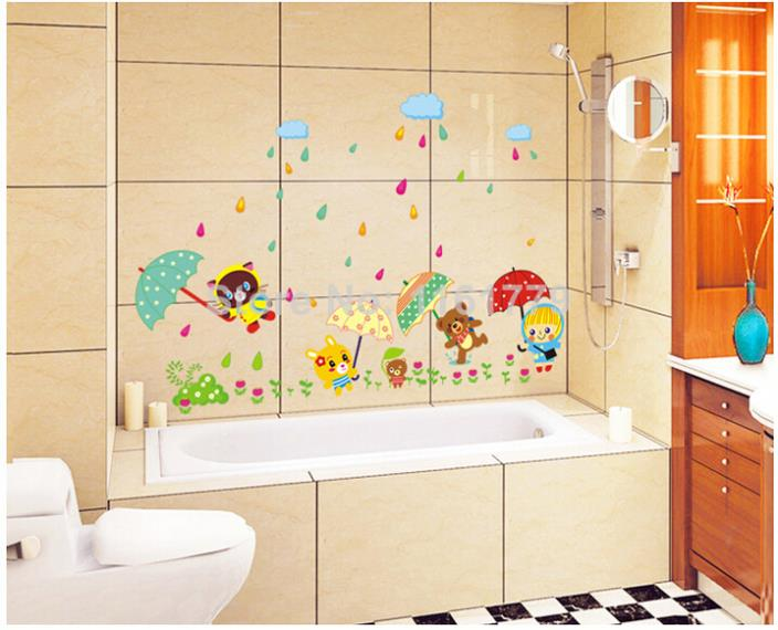 Animal bear rain umbrella waterproof wallpaper for bathroom fun 704x570