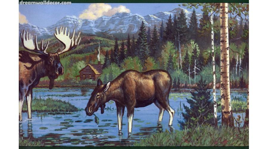 Home Dark Black Moose Wallpaper Border 900x500