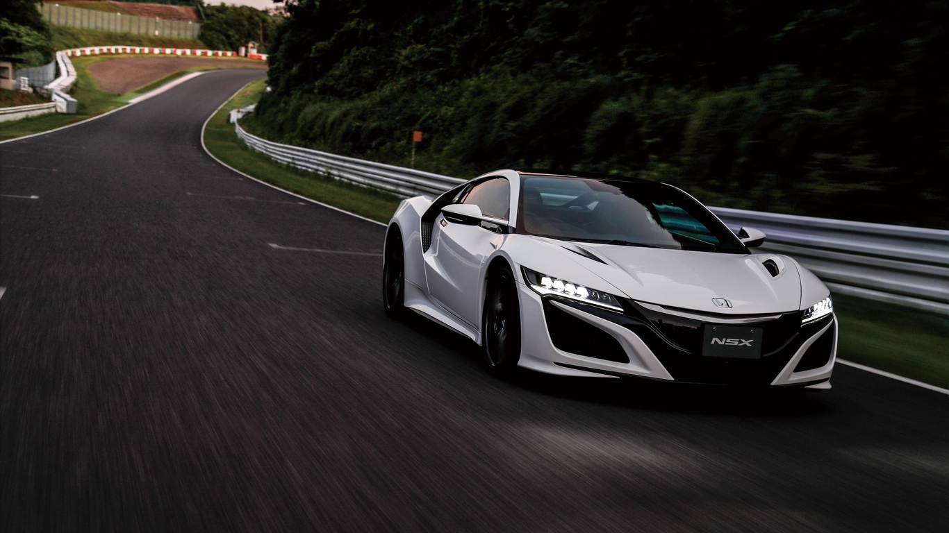Download wallpaper 1366x768 honda nsx movement side view tablet 1366x768