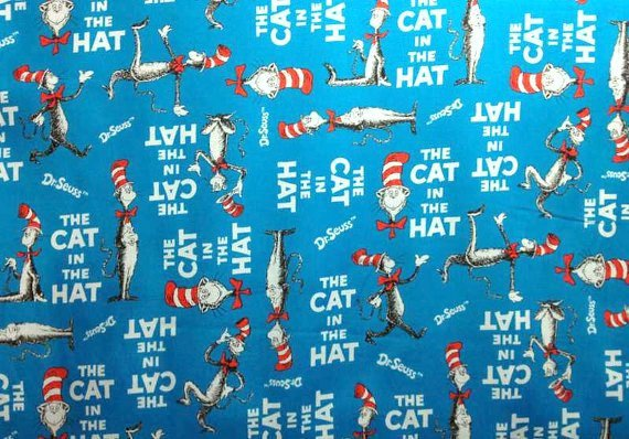 The Cat In The Hat Fabric By the Yard Fat Quarter Robert 570x398