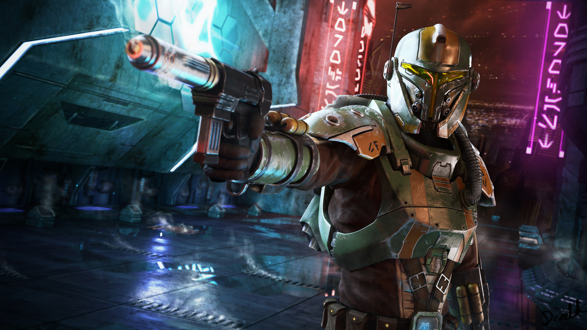 Artwork Bounty Hunter Star Wars The Old Republic Nar Shaada 1920x1080