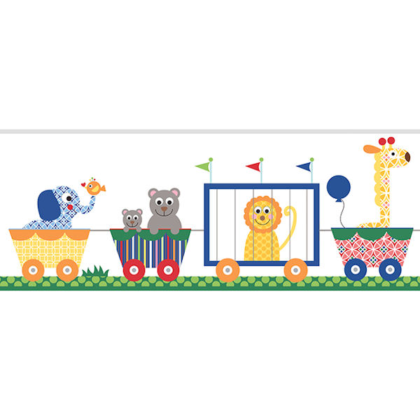 Circus Train Primary Prepasted Wall Border   Wall Sticker Outlet 600x600