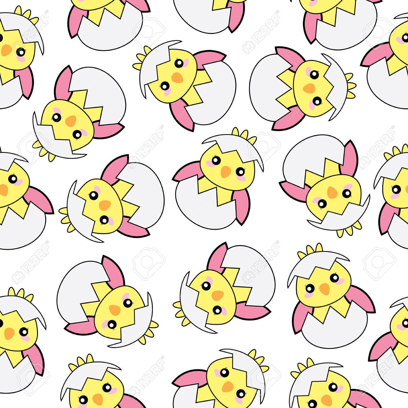 Seamless Background Of Easter Illustration With Cute Pink Baby 1300x1300