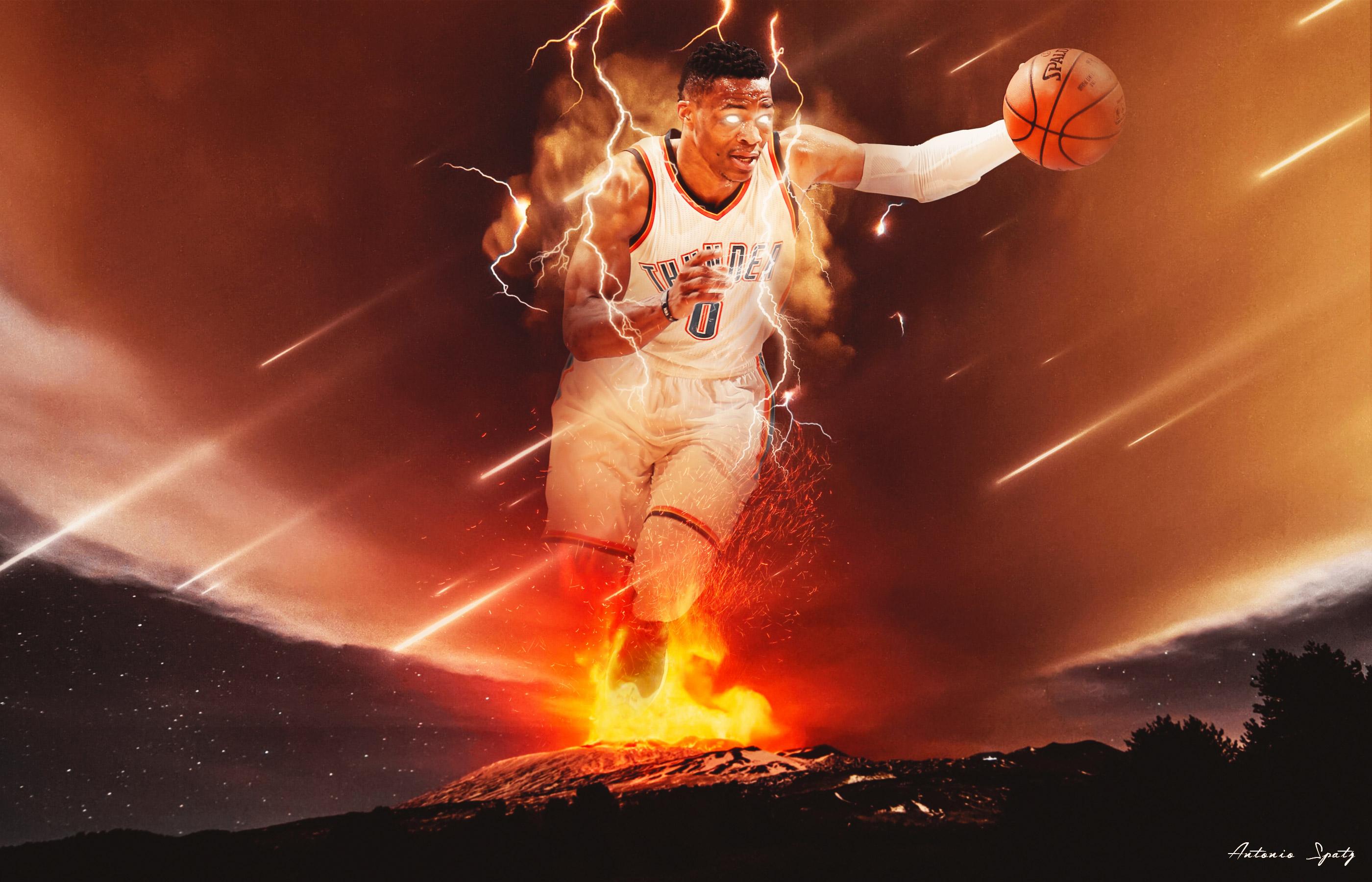 Russell Westbrook 2016 NBA Playoffs Wallpaper Basketball 2800x1800