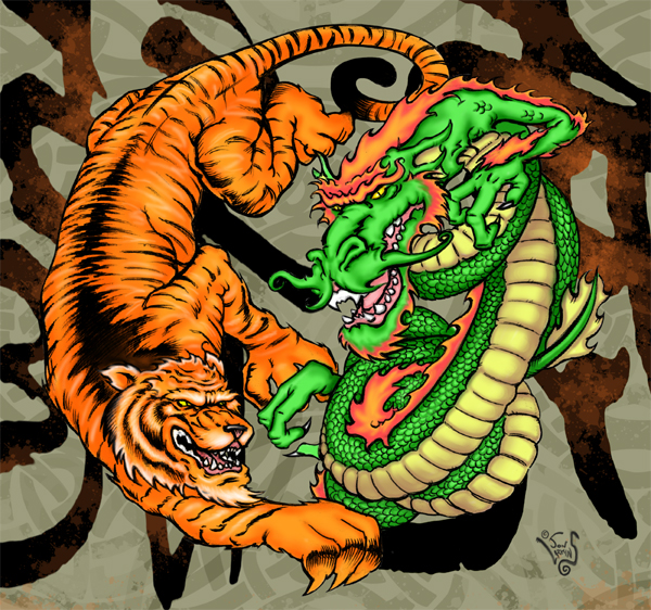 Tiger Vs Dragon Wallpaper Dragon and tiger chroma by 600x562