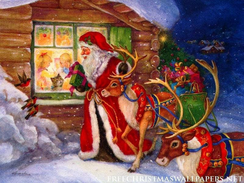 Le Père Noël et ses deux rennes tirant son traîneau, distribue des ...