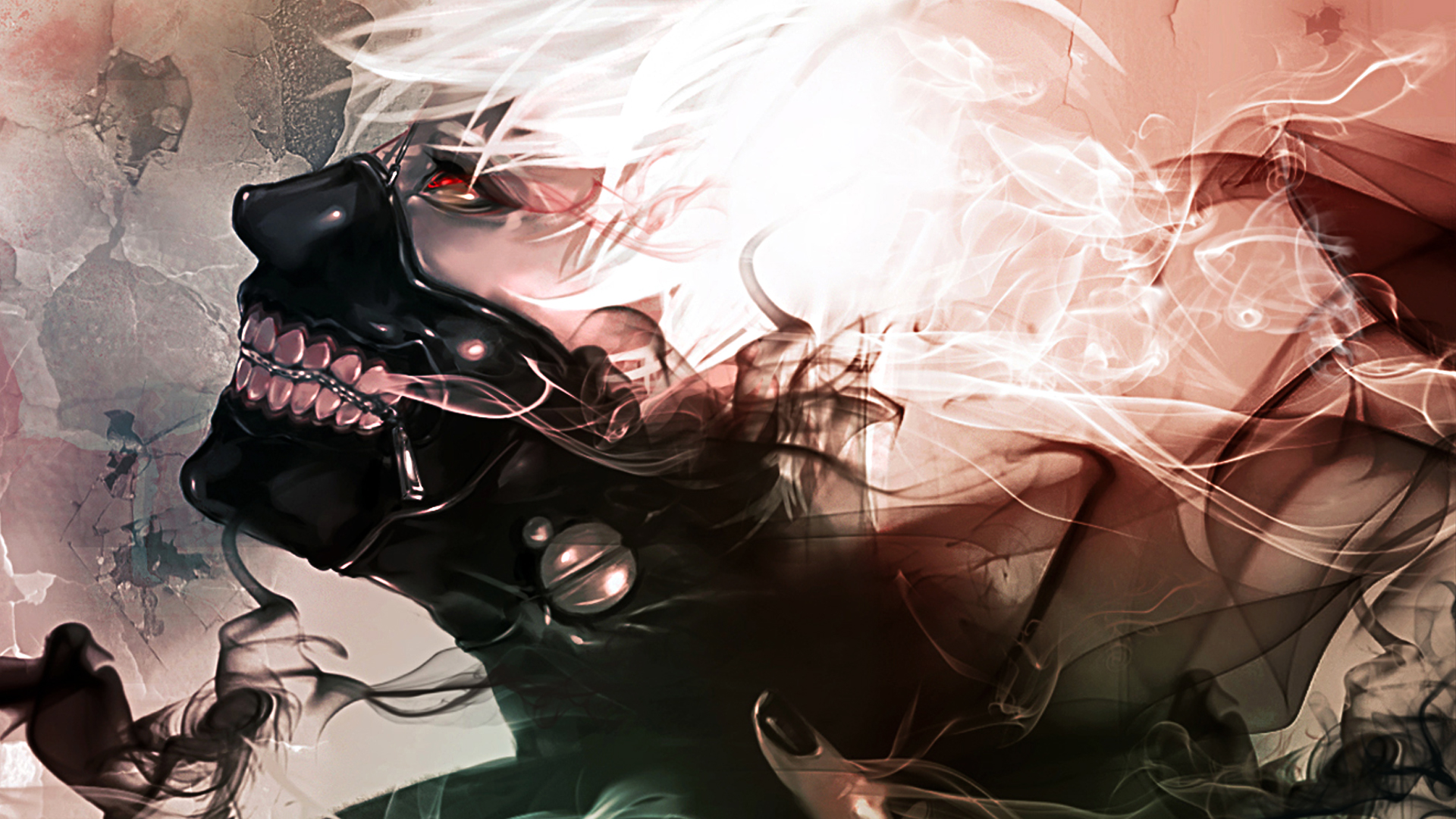 tokyo ghoul anime ken kaneki smoke red eyes mask 1920x1080