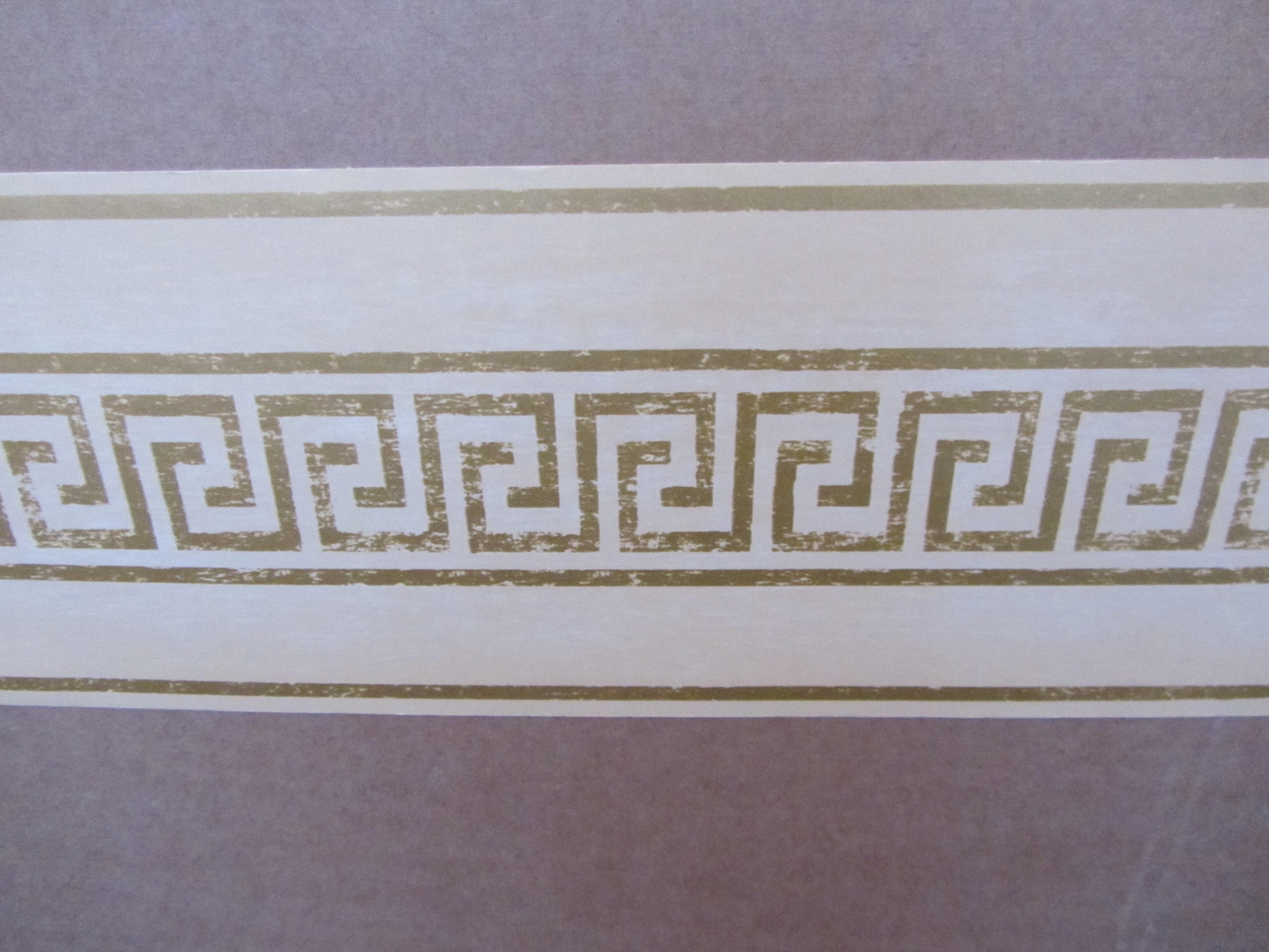 MODERN GREEK KEY CREAM WALLPAPER BORDER PATTERN SELF ADHESIVE HALLWAY 4000x3000