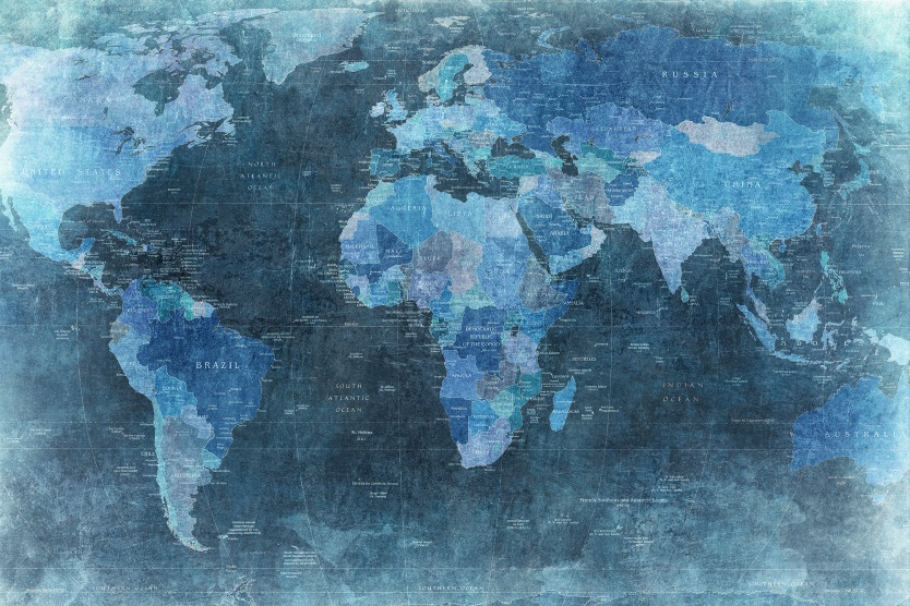 Product image for Wall mural World Map blue 834x556