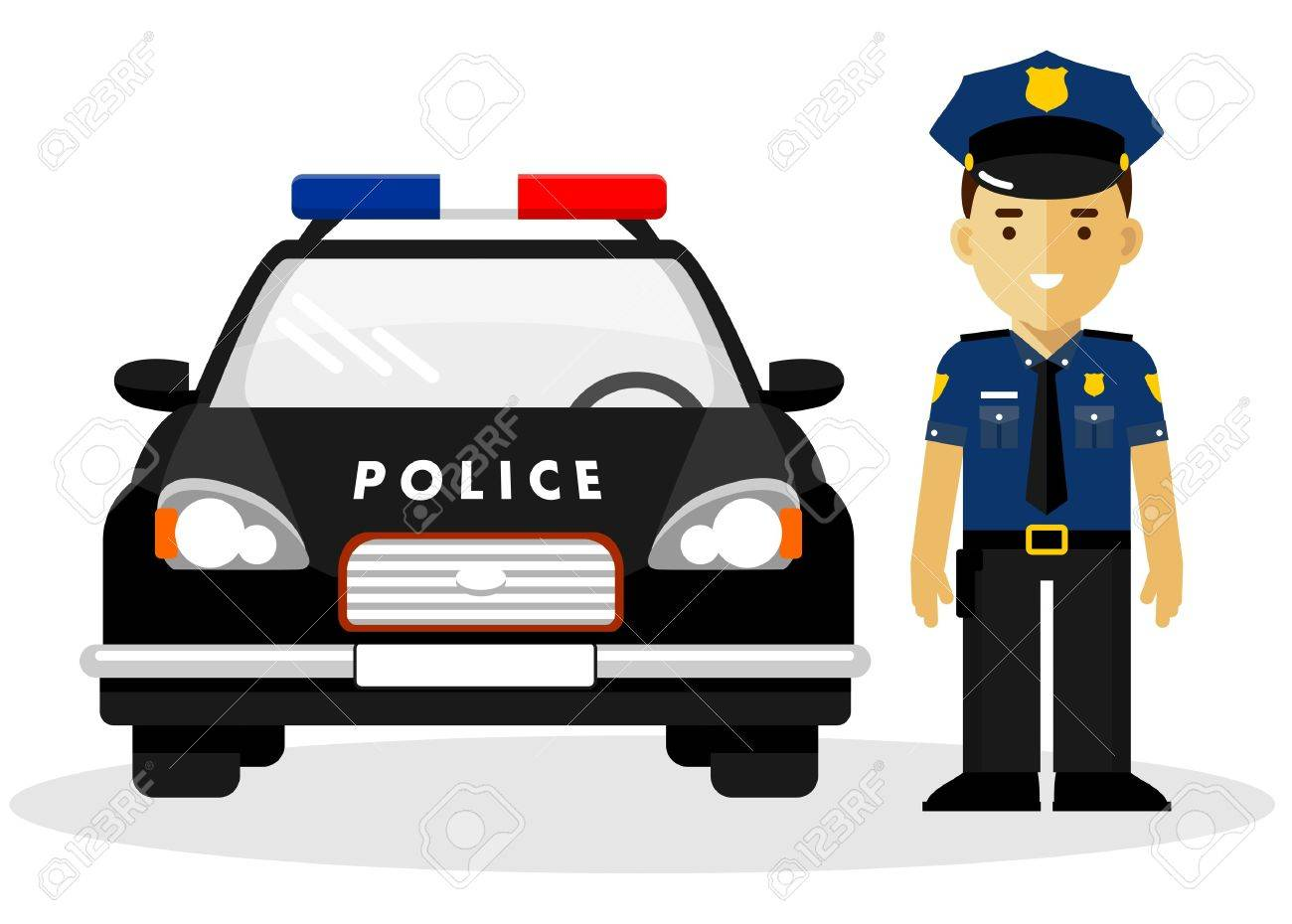 Policeman Officer On City Background With Police Car In Flat 1300x930