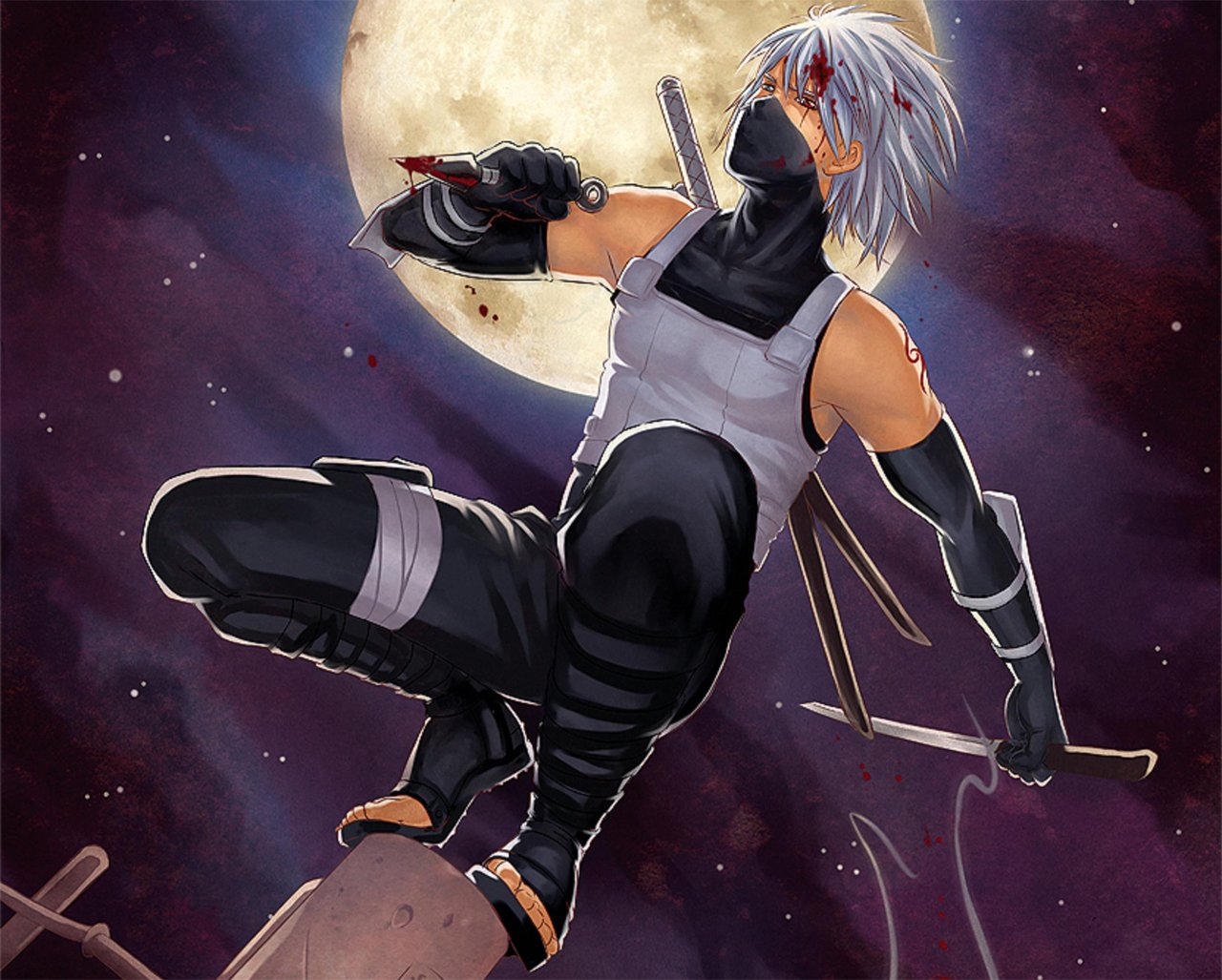 Anbu Kakashi Hatake Katana Kunai Blood Anime Konoha Ninja HD Wallpaper 1280x1027