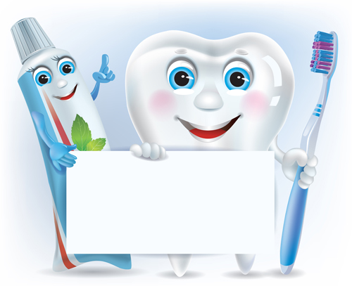 EPS File Cartoon Cute Tooth With Toothpaste And Toothbrush Vector 500x407