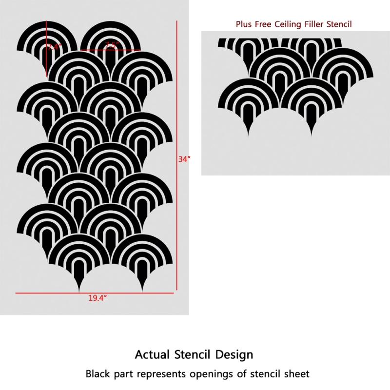 Scallop Pattern Allover stencil for Painting better than wallpaper 800x800