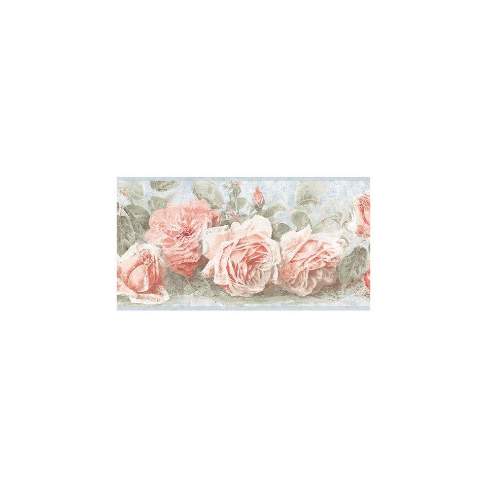 Soft Blue Pink Vintage Rose Wallpaper Wall Border Home 960x960