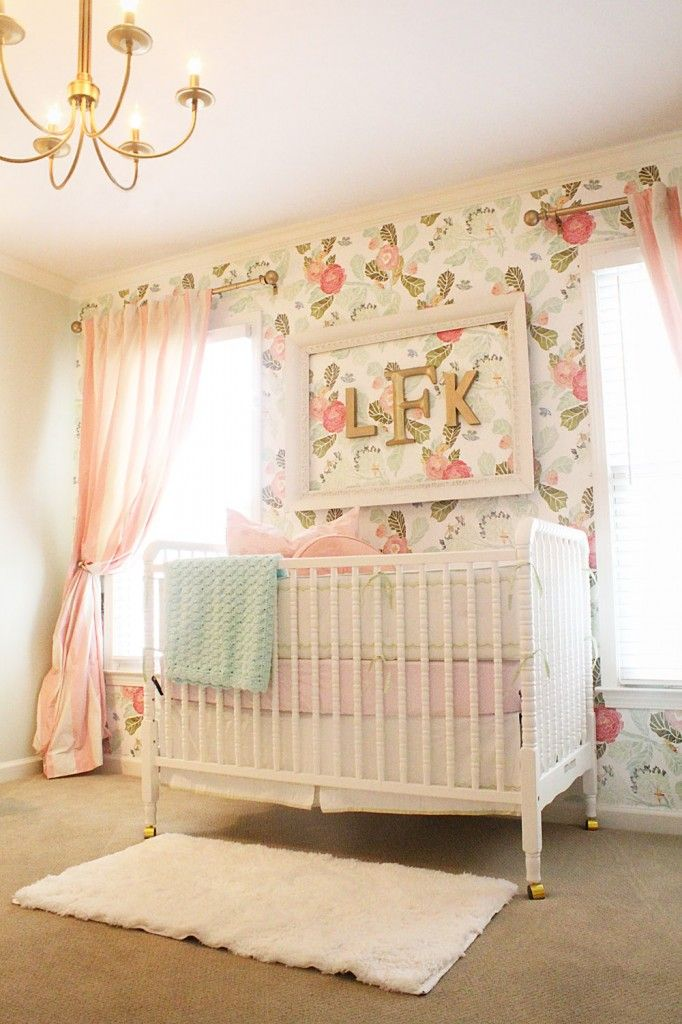 beautiful baby girl nursery with floral wallpaper jenny lind crib I 682x1024
