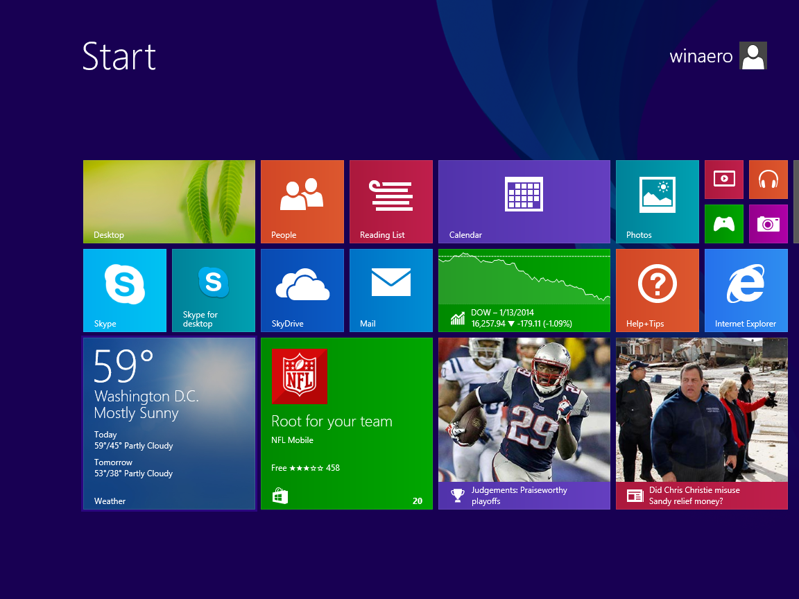 Windows 81 Default Start Screen Start screen before 1152x864