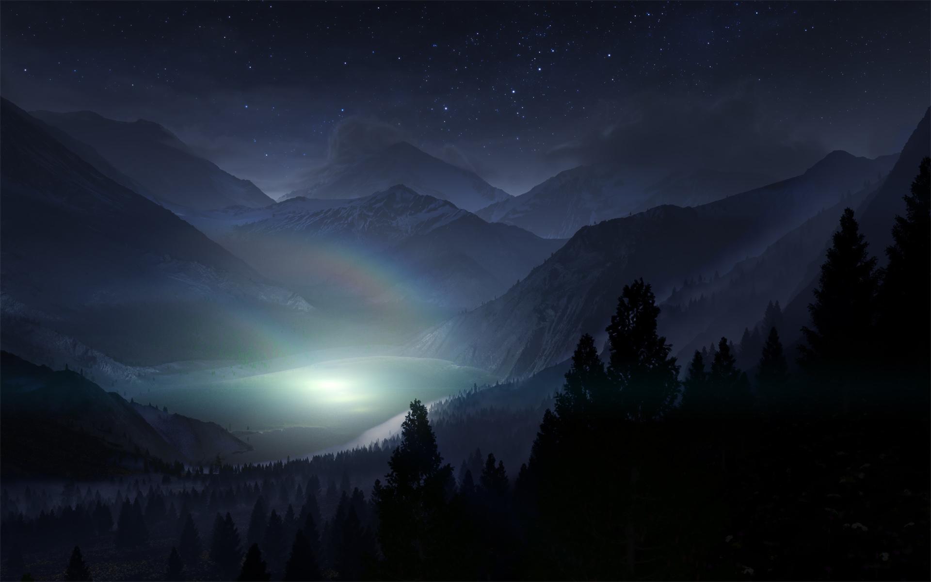 lake night cg stars trees mountains landscape wallpaper lake night cg 1920x1200
