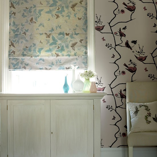 magical effect with a beautiful bird and butterfly print wallpaper ...