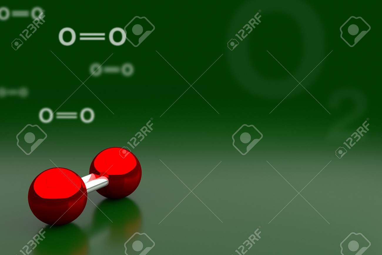 Oxygen Or O2 Molecule Background 3D Rendering Stock Photo 1300x866